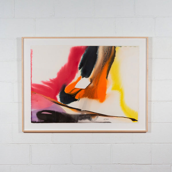 Paul Jenkins, Phenomena Near Heaven Hill, Watercolour, 1979, Caviar20 paintings, American Art, displayed framed and hanging on white brick wall