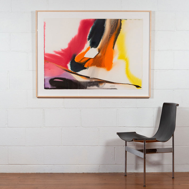 Paul Jenkins, Phenomena Near Heaven Hill, Watercolour, 1979, Caviar20 paintings, American Art, displayed framed and installed on white brick wall with modernist chair