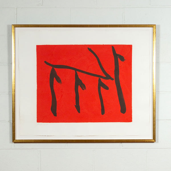 Robert Motherwell, Rites of Passage II, Lithograph, 1980, Caviar20, Caviar20 prints, framed with narrow gold and displayed against white brick wall