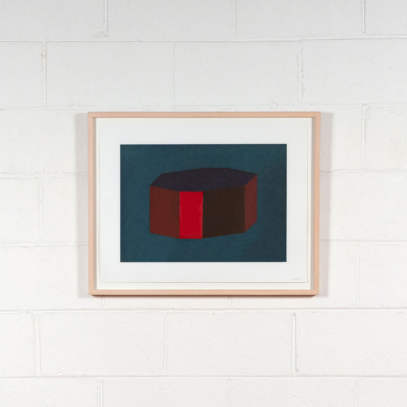 Sol Lewitt, Forms Derived from a Cubic Rectangle, #12 Aquatint, print, 1990, Caviar20 prints, whole work displayed on white brick wall in frame