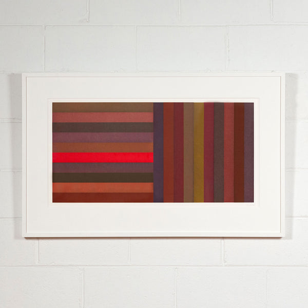 Sol Lewitt, Bands: Red, Aquatint, 1991, Caviar20 prints, framed and displayed on white brick wall