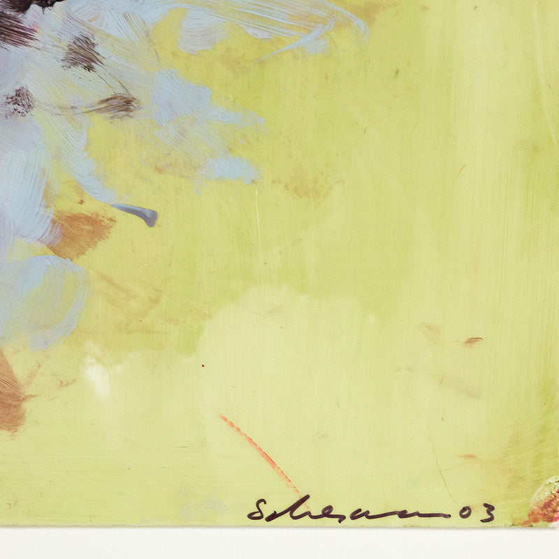 Tony Scherman, Peonies, Encaustic painting, 2003, Caviar 20, close-up detail showing artist's signature and date