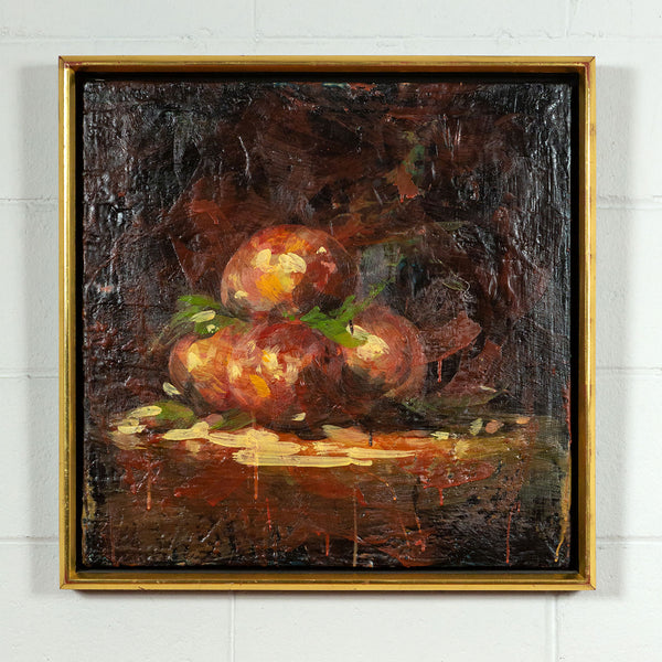 Tony Scherman, Peaches, Encaustic painting, 2000, Caviar20, Caviar 20 Canadian art, displayed in frame and on white brick wall