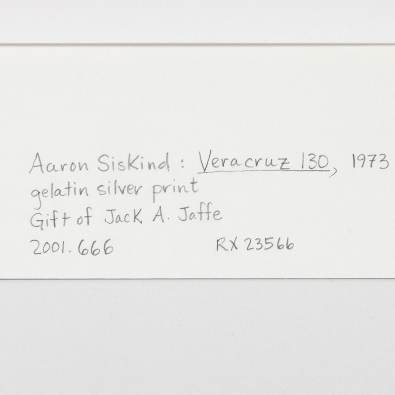 "AARON SISKIND ""VERACRUZ 130"" PHOTO, 1973"