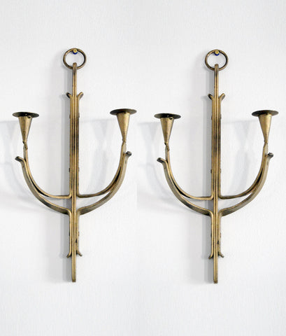 PAIR OF DECO CANDLE SCONCES