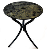 """MIRRORED MOON"" GLASS-TOP SIDE TABLE"