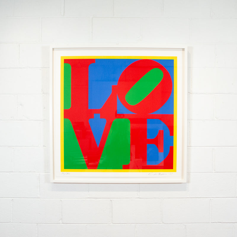Robert Indiana, Heliotherapy Love, screenprint, 1995 Caviar20 exhibition view