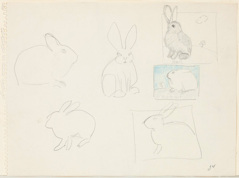 Joyce Wieland bunnies works on paper Caviar20