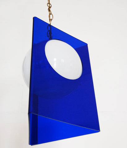 BLUE LUCITE WHITE MOON HANGING LIGHT