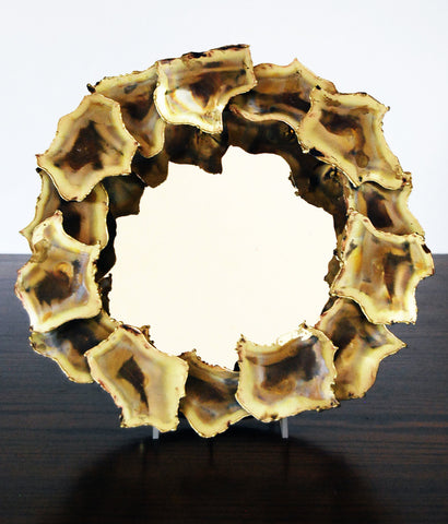"CURTIS JERE STYLE ""GOLD OYSTER"" RELIEF MIRROR"