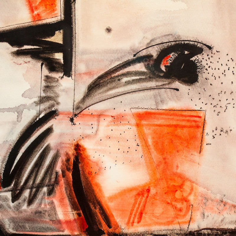 "ALEXANDRA LUKE ""UNTITLED (EAGLE)"" ACRYLIC ON PAPER"