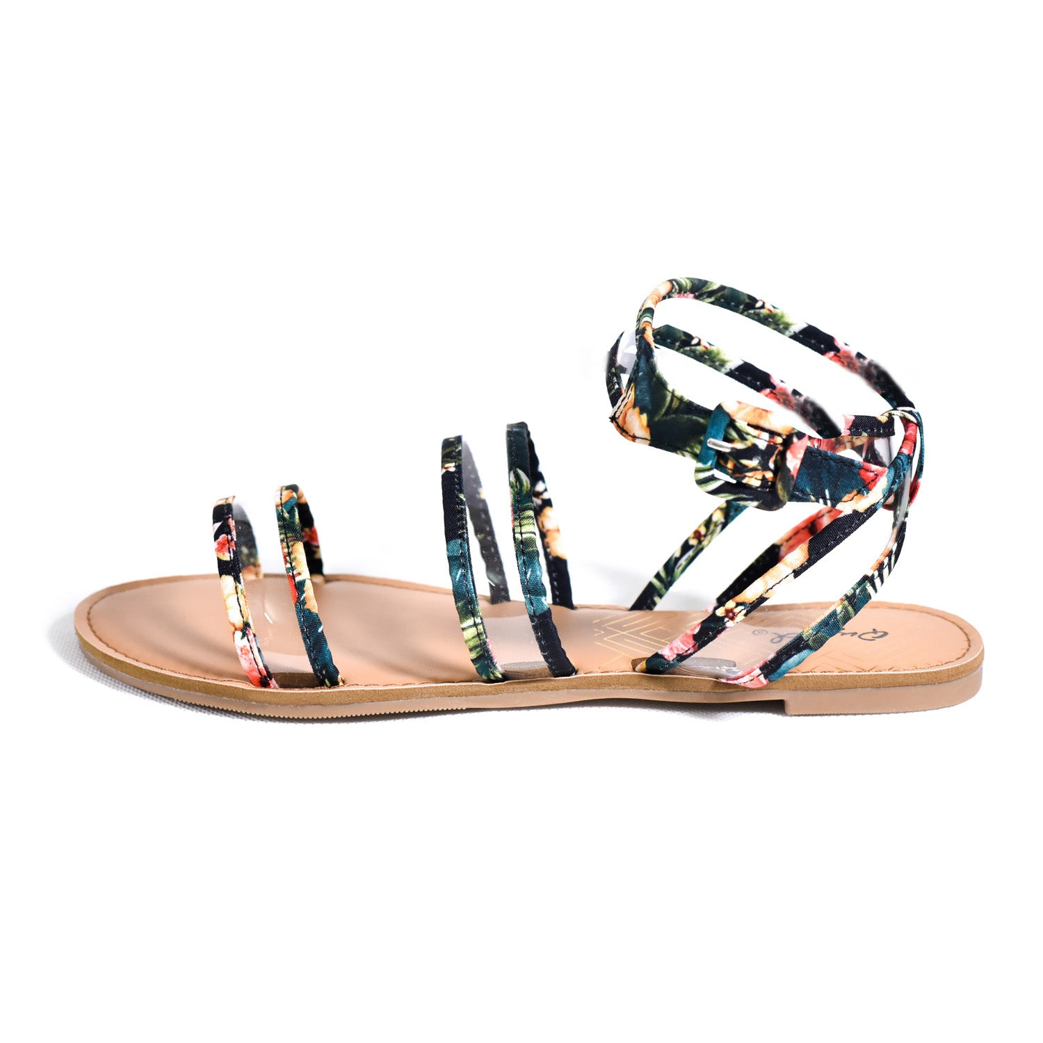 Flat Sandal multi colored with clear wide belts