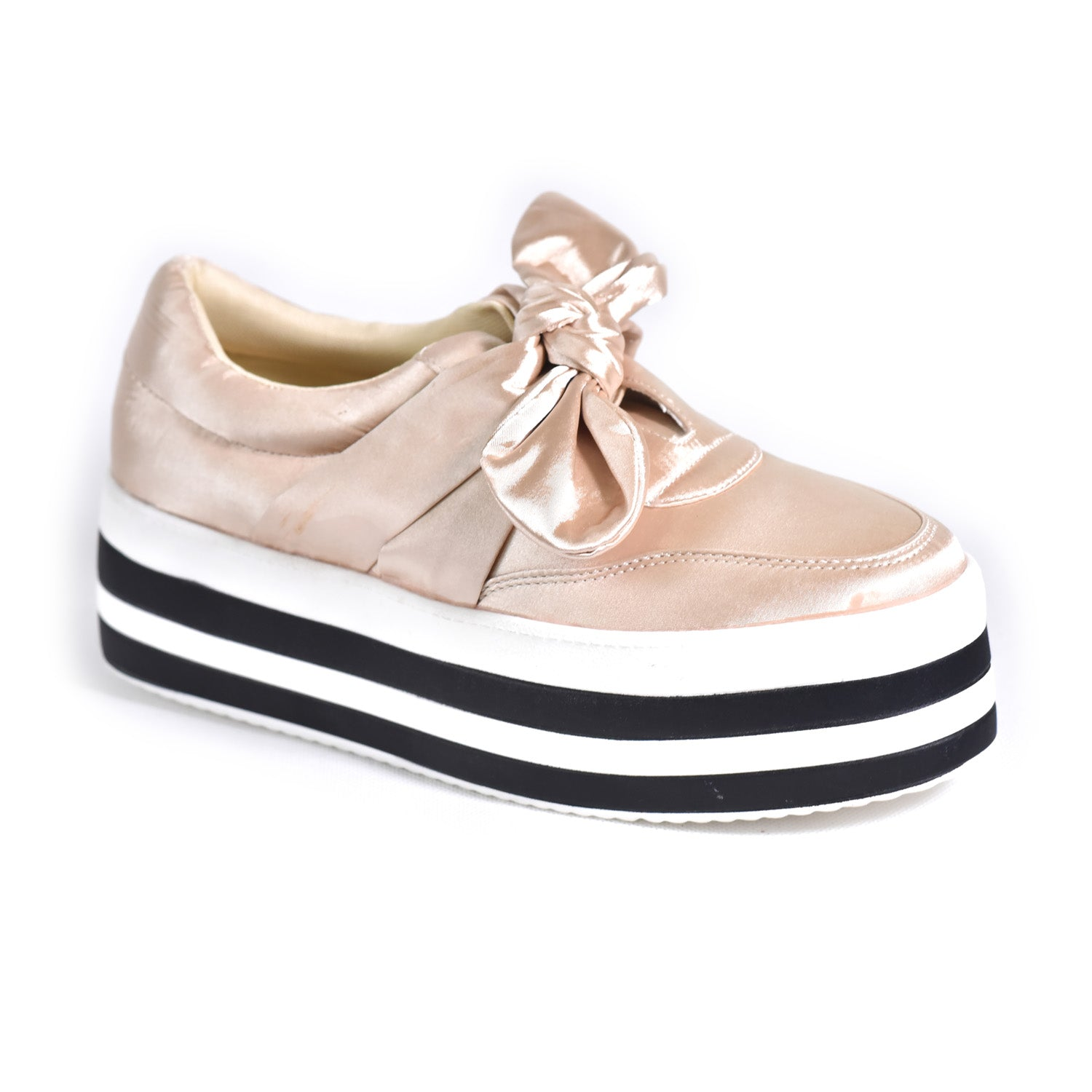 High Flat Sneaker  with front knot