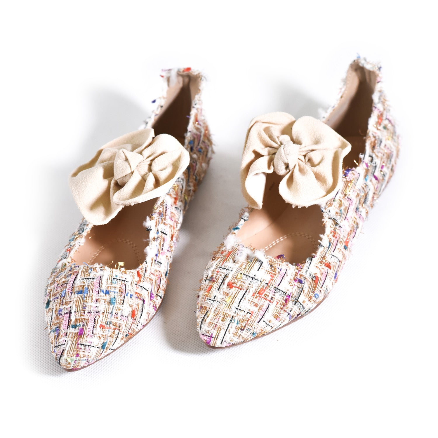 Colorful Flat Shoes with front knots