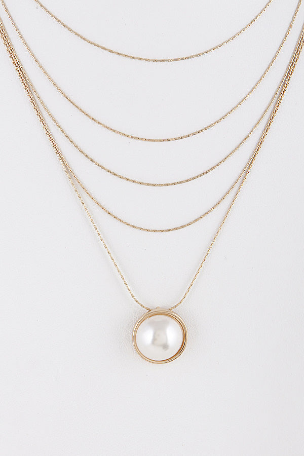Layered Necklace With Pear Detail