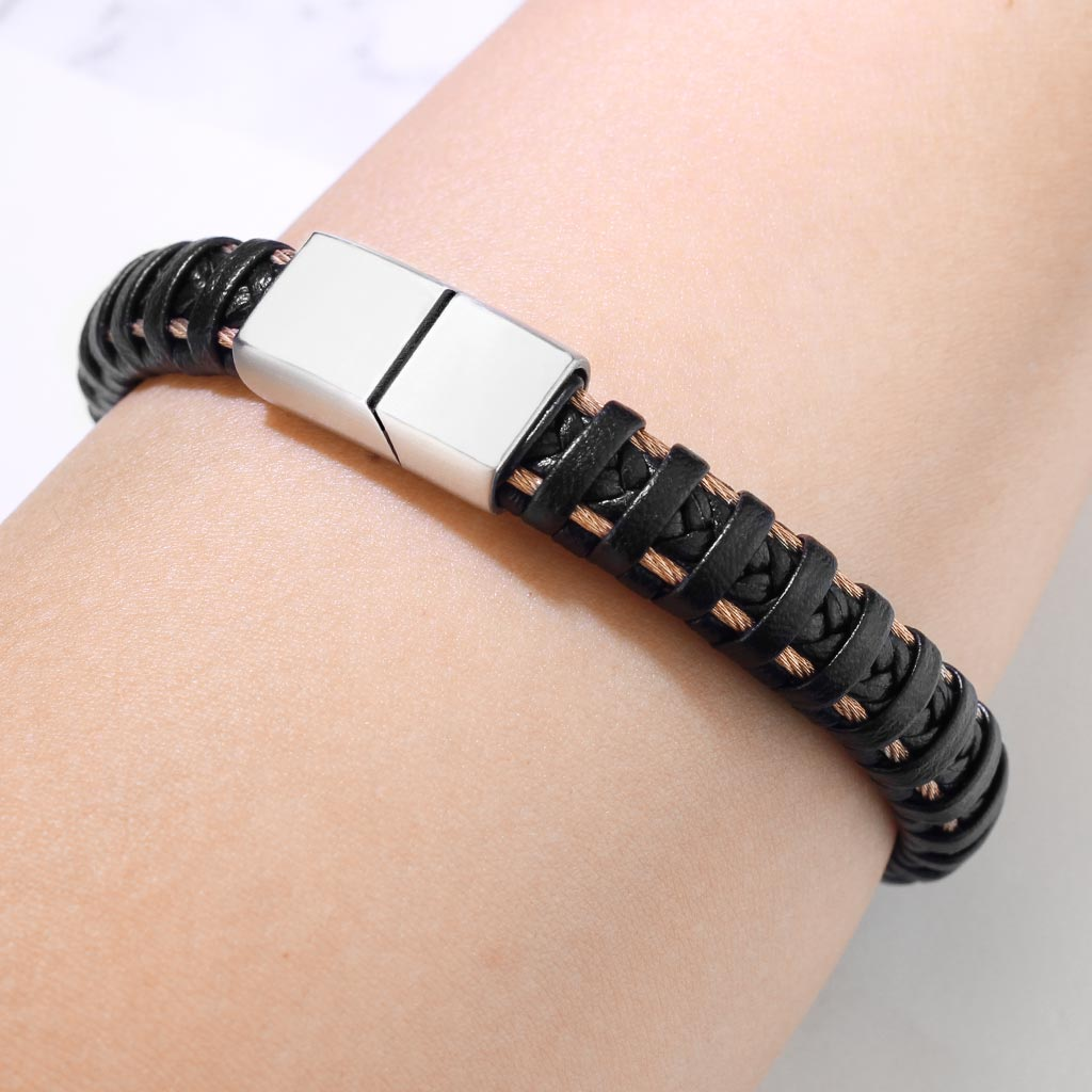 High Quality Black Micro Fiber Leather and PVD Rose Gold Stainless Steel Mens Bracelets