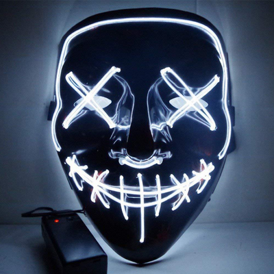 Surpriseyou Black V Halloween Horror Glowing Mask White