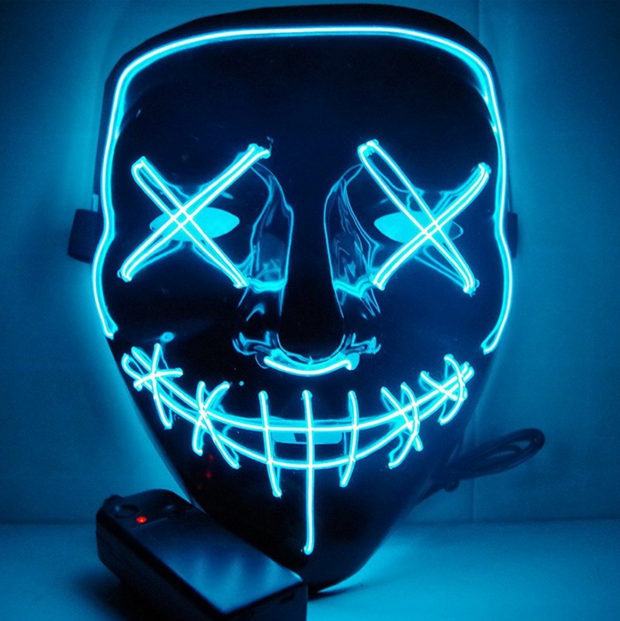 Surpriseyou Black V Halloween Horror Glowing Mask Turquoise