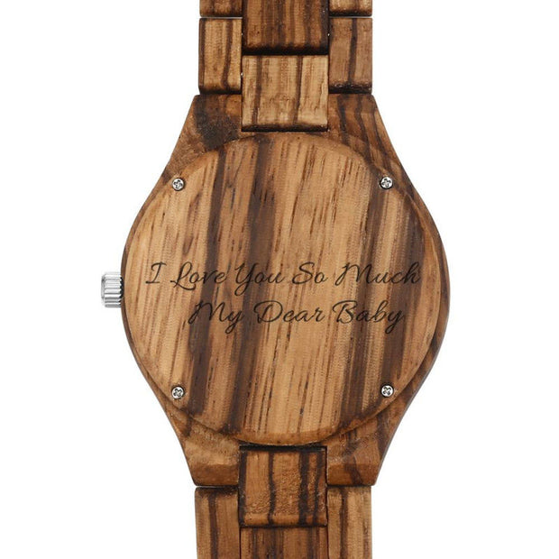 Engraved Wooden Photo Watch brown - SURPRISEYOU