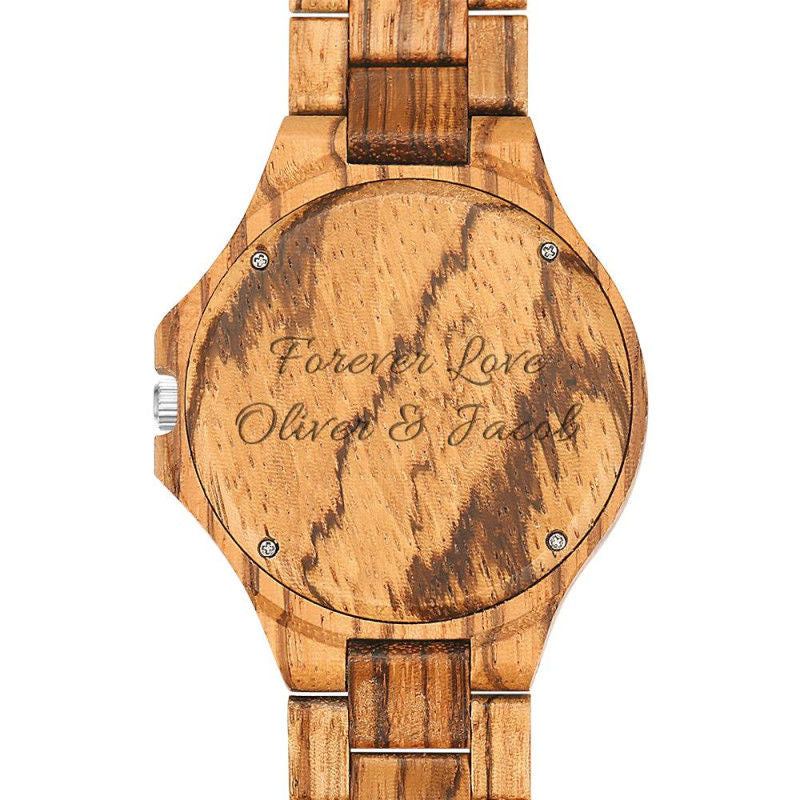 Engraved Wooden Photo Watch light-brown - SURPRISEYOU