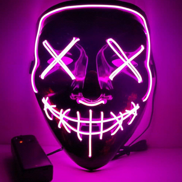 Surpriseyou Black V Halloween Horror Glowing Mask Pink