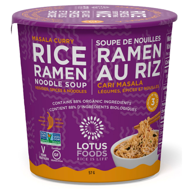 Lotus Foods Masala Curry Rice Ramen Noodle Soup Cup