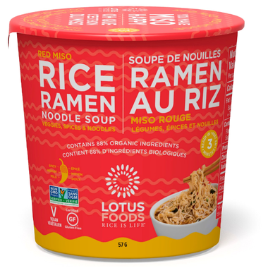 Lotus Foods Red Miso Rice Ramen Noodle Soup Cup