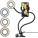 Facebook Lazy Bracket Desk Lamp LED Light for YouTube FIXKIT Selfie Ring Light with Cell Phone Holder for Live Stream Huawei Dimmable 3-Light Mode Samsung HTC iPhone 7,6//Plus