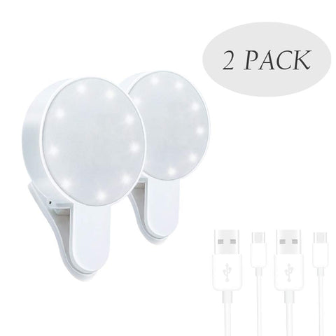 Selfie Light Ring,Juhefa Clip-on LED Camera Light,Photography Light Compatible with iPhone, iPad, Sumsung Galaxy, Phone,Laptop (Rechargeble,3-Level Dimmable,White 2pack)