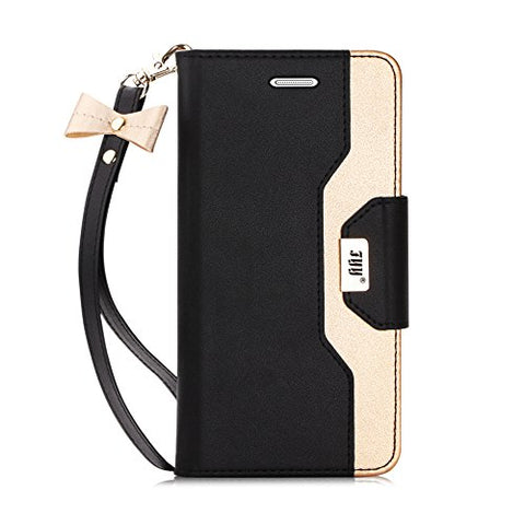 FYY Leather Case with Mirror for Samsung Galaxy S7, Leather Wallet Flip Folio Case with Mirror and Wrist Strap for Samsung Galaxy S7 Black