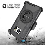 Galaxy S7 Case, DUEDUE Ring Kickstand Belt Clip Holster,Shockproof Heavy Duty Hybrid Hard PC Soft Silicone Full Body Rugged Protective Case for Samsung Galaxy S7 (G930), Black