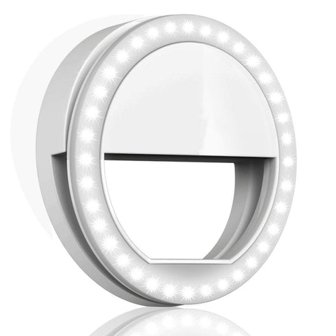Selfie Ring Light for Phone Camera Photography Video, BatteryPowered Clip White