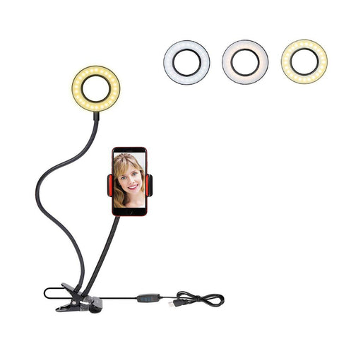 Rovtop Ring Light Stand Live Stream Makeup, 48 LED Bulbs 3 Light Modes 10-Level Brightness 360 Rotating for iPhone Android Cell Phone, Red