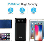 Power Bank 25000mAh Huge Capacity BCM Portable Charger Battery Pack Backup Battery Power Pack Dual Inputs 3 Output Ports with Intelligent LCD Compatible Smartphone, Tablet and More
