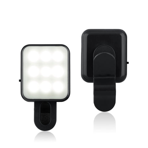 CHSMONB Mini LED Selfie Light, Rechargeable 2 Adjustable Brightness Camera Fill Light Compatible for Any Cell Phones Tablet Photography Video (Black)