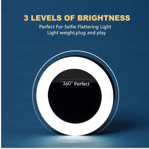 Selfie Ring Light,Easy Clip On 3 Levels of Brightness with Rechargeable (Battery) for iPhone,Samsung,iPad.Black