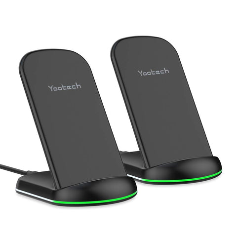 Yootech Wireless Charger,[2 Pack] 10W Qi-Certified Wireless Charging Stand, 7.5W Compatible with iPhone Xs MAX/XR/XS/X/8/8 Plus,10W Fast Charging Galaxy S10/S10 Plus/S10E/S9(No AC Adapter)