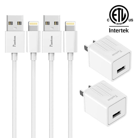 iPhone Chargers, Pantom 2-Pack Wall Charger Adapter Plugs with 2-Pack 5-FeetLightning Cables Charge Sync Compatible with iPhones and iPads (White)