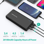 RAVPower USB C Battery Pack 20100 Portable Charger with QC 3.0 Qualcomm Quick Charge 3.0, 20100mAh Input & Output Type C Power Bank for Nintendo Switch, iPhone, 12-inch MacBook, Galaxy and More