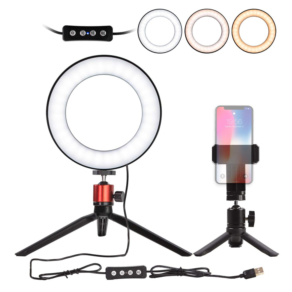 6 Mini LED Camera Light with Cell Phone Holder Desktop LED Lamp with 3 Light Modes /& 11 Brightness Level LED Ring Light 6 with Tripod Stand for YouTube Video and Makeup