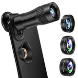 Phone Camera Lens, OYRGCIK 4 in 1 Phone Lens Kit 14X Zoom Telephoto Lens with Telescope, 20X Macro Lens, 120° Wide Angle Lens, 198° Fisheye Lens Compatible with iPhone X XS Max 8 7 Plus Samsung S10