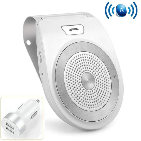 Bluetooth Car Speaker, Aigital Wireless in-Car Speakerphone on Sun Visor, Clear Sound for Handsfree Calling Music, AUTO Power ON Function and Supports Siri - White