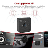 15 Hour Bluetooth Receiver/Bluetooth Car Kit, TaoTronics Portable Wireless Audio Adapter 3.5mm Aux Stereo Output (Hands-Free Calling, Bluetooth 4.2, A2DP, CVC Noise Cancelling)