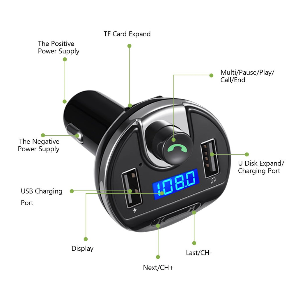 Hands-Free Calling for Smartphones 4330380540 Universal Car Charger with Dual USB Charging Ports Wireless in-Car FM Transmitter Radio Adapter Car Kit KeeKit Bluetooth FM Transmitter