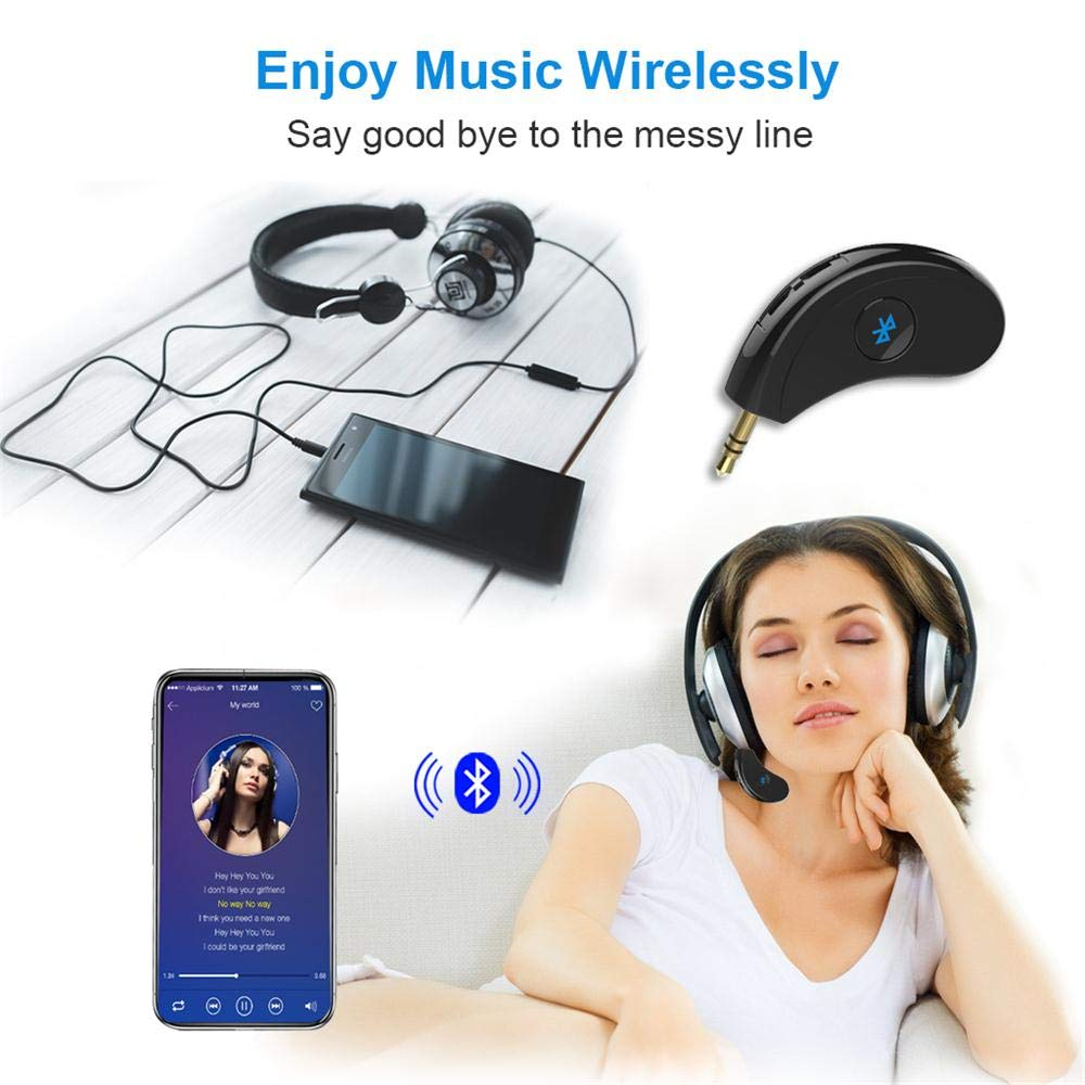 Bluetooth Receiver//Hands-Free Car Kit Speaker Car Audio System Headphone Portable 3.5mm Bluetooth Aux Adapter Wireless Music Streaming for Home Bluetooth 4.2,A2DP,40feet Bluetooth Range