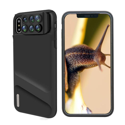 iPhone Xs Max Lens, 6 in 1 Dual Phone Camera Lens Kit [ 180 Degree Fisheye, 0.65X Super Wide Angle, 10X/20X Macro, 2X Zoom Telescope Lens ] with Phone Protective Case Cover for Apple iPhone Xs Max