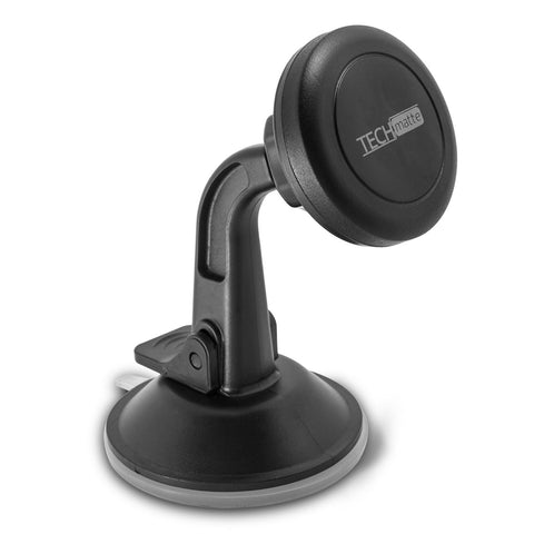 TechMatte Car Phone Mount Magnetic | Dashboard Mounted Car Phone Holder | Universal Smartphone Compatibility with Strong Magnetic Technology (Black)