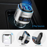 FM Transmitter, Nulaxy V4.2 Bluetooth FM Transmitter, Wireless FM Radio Car Bluetooth Adapter with QC3.0 Quick Charge, Support USB Drive, TF Card, Hands-Free Talking, Activate Siri/Google Now - NX08