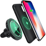 Maxjoy Wireless Car Charger iPhone X Magnetic Case Set,3- in-1 Air Vent Mount Magnetic Car Charger, 360 Degree Rotation Strong Magnetic Mount Holder with Phone Receiver Case for iPhone X, Gray Case