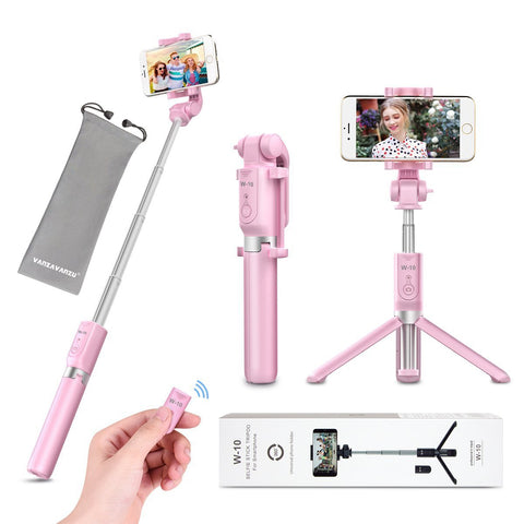 Selfie Stick Tripod with Remote Bluetooth - VANZAVANZU New Best Selfie Stick Monopod Tripod for iPhone X 6s 7 8 Plus Samsung s7 Edge, Podcast, Live Broadcasting, Facetime (Pink)